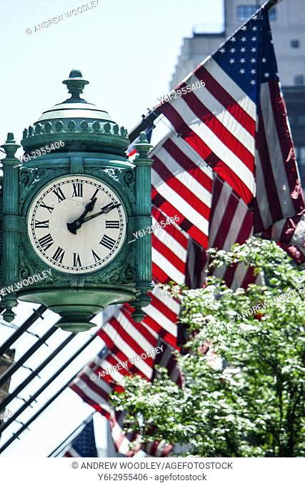 Old Marshall Field now Macys store clock at State and Randolph Chicago USA