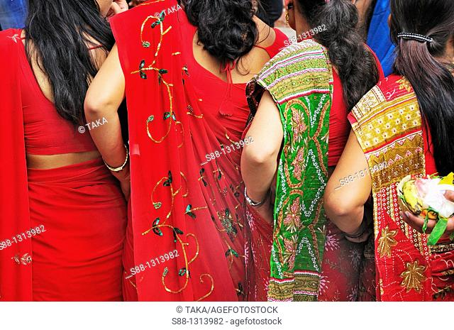 Women wearing sally on the festival day