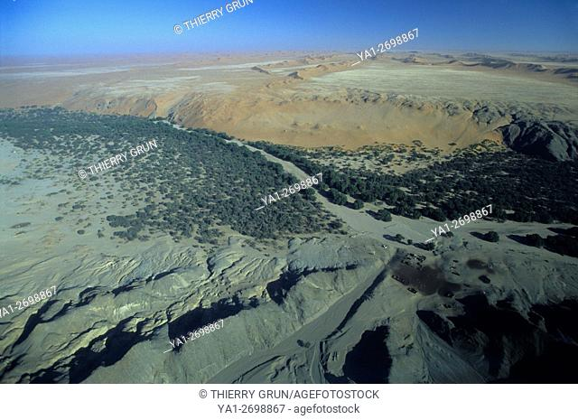 Aerial view of Kuiseb valley and river at Homeb, Namibia, Africa