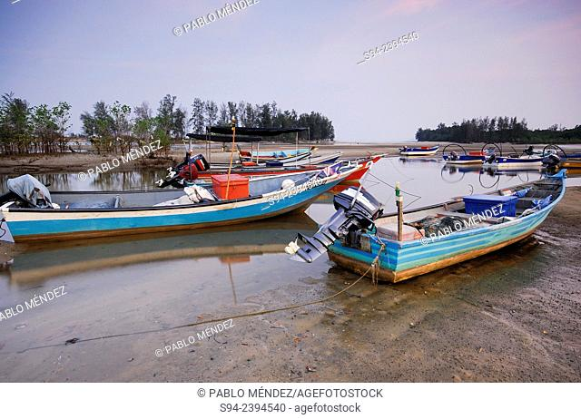 Boats in the fishing village of Kampung Cherating, Pahang, Malaysia