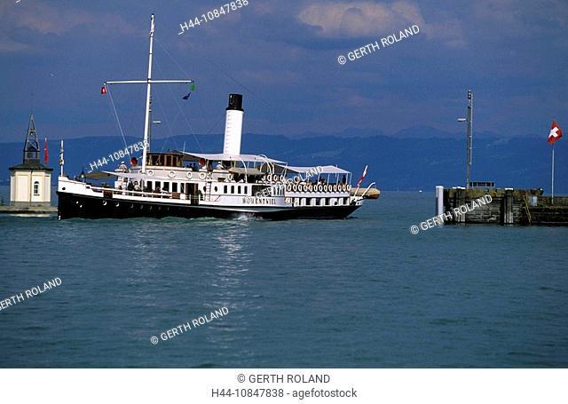 Switzerland, Europe, Canton Thurgau, Lake Constance, Romanshorn, harbor, harbor, port, lake, water, steamboat Hohentwi