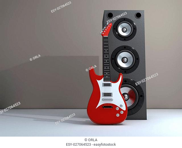 An electric guitar and a speaker - rendered in 3d