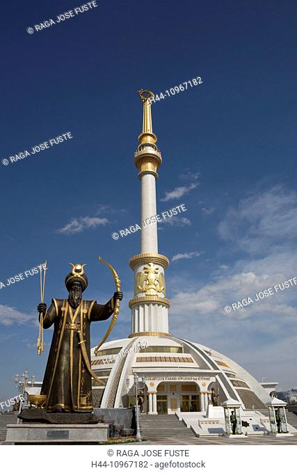Ashgabat, Turkmenistan, Central Asia, Asia, architecture, avenue, city, colourful, golden, guard men, independence, monument, park, skyline, statues, touristic