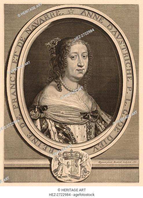 Anne of Austria, Queen of France, 1660. Creator: Robert Nanteuil (French, 1623-1678)