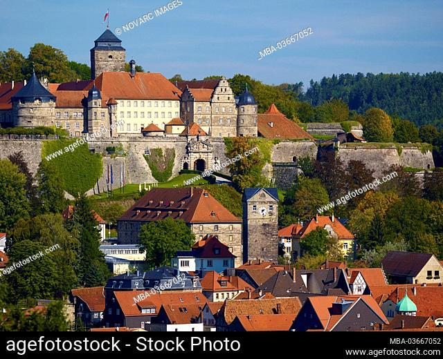 Fortress Rosenberg and Upper Town Tower, Kronach, Upper Franconia, Bavaria, Germany