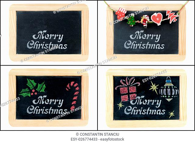 Photo collage of Merry Christmas greeting on vintage chalkboard frames isolated on white