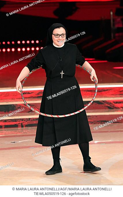 Sister Cristina during the performance at the tv show Ballando con le stelle (Dancing with the stars) Rome, ITALY-04-05-2019
