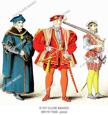The figures pictured here represent English people between 1500 and 1550. From left to right, they are: Chancellor Sir Thomas More in 1535