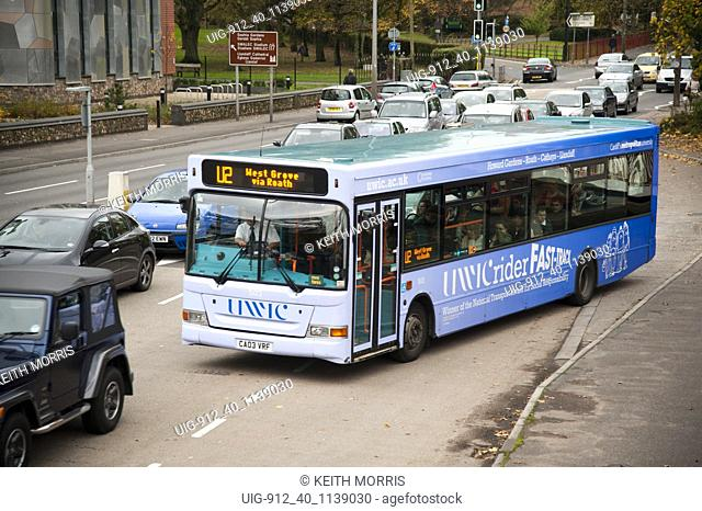 A bus service dedicated to transporting students to various UWIC campuses Cardiff, Wales UK