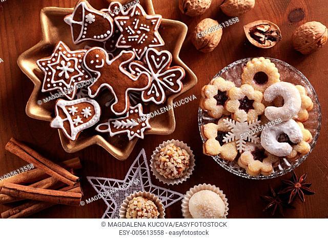Top view of various Christmas cookies
