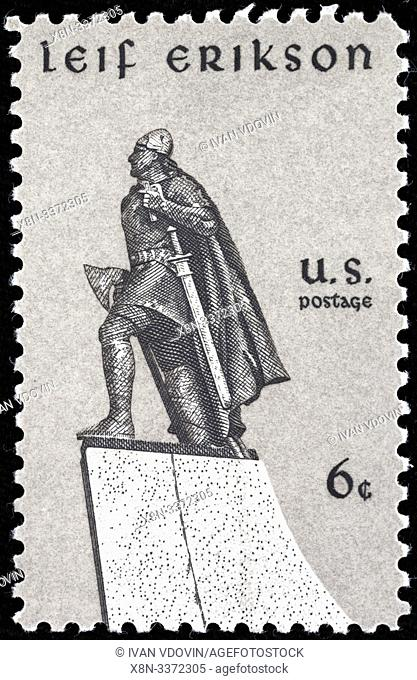 Leif Erikson, (970-1020), Norse explorer from Iceland, postage stamp, USA, 1968