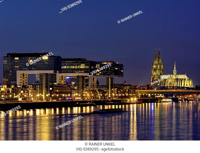 DEU , GERMANY : Panorama of Cologne at Rhine river with Crane buildings and Cathedral , 31.12.2015 - Cologne, Northrhine-Westfalia, Germany, 31/12/2015