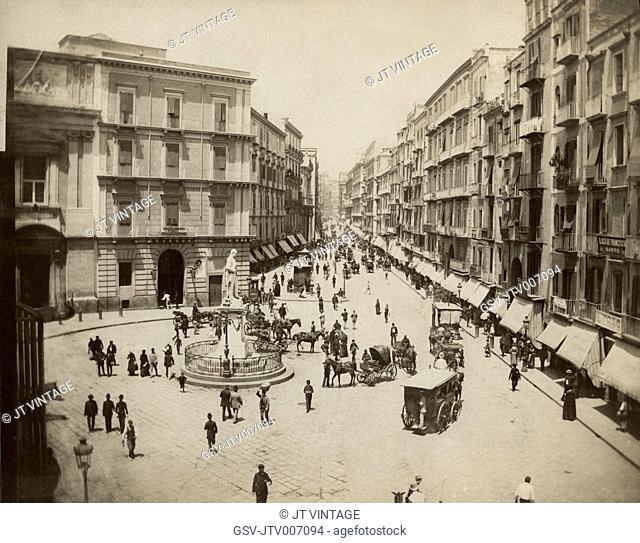 Street Scene, Via Roma (now Toledo) with Statue of Carlo Poerio, Naples, Italy, Albumen Print, circa 1880