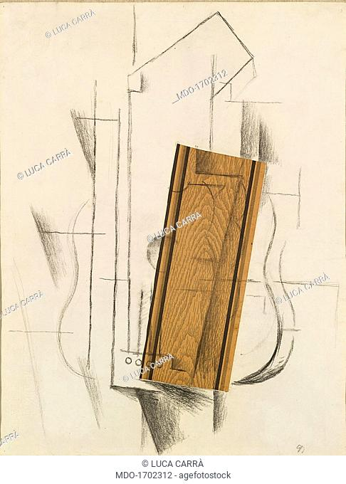 Still Life with Guitar - Still Life with Mandolin, by Georges Braque, 1912, 20th Century, charcoal and collage on paper, 62, 1 ? 48, 2 cm