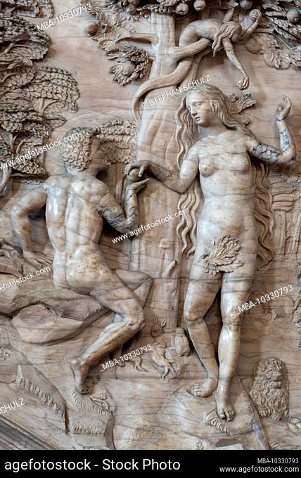 Germany, Saxony-Anhalt, Magdeburg, Magdeburg Cathedral, Fall, relief on the pulpit stairs. (In 1520 the cathedral was finished after 311 years of construction
