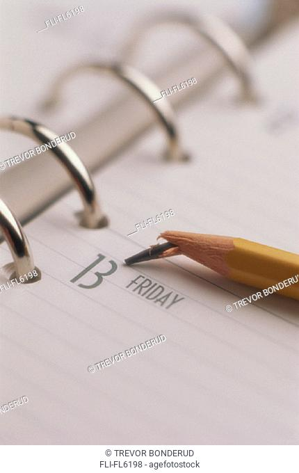 Broken Pencil, Date Book showing Friday 13th'
