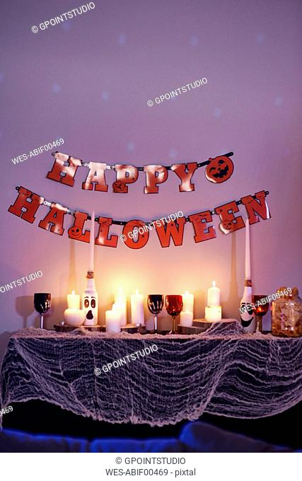House interior, decorated for Halloween party
