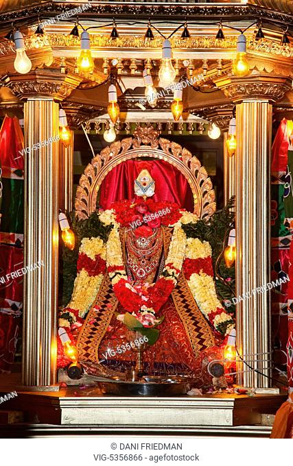 CANADA, BRAMPTON, 03.08.2015, The idol of Vel is decorated beautifully with fresh flowers and pure silk while in the chariot during the Aadivel Festival (Aadi...