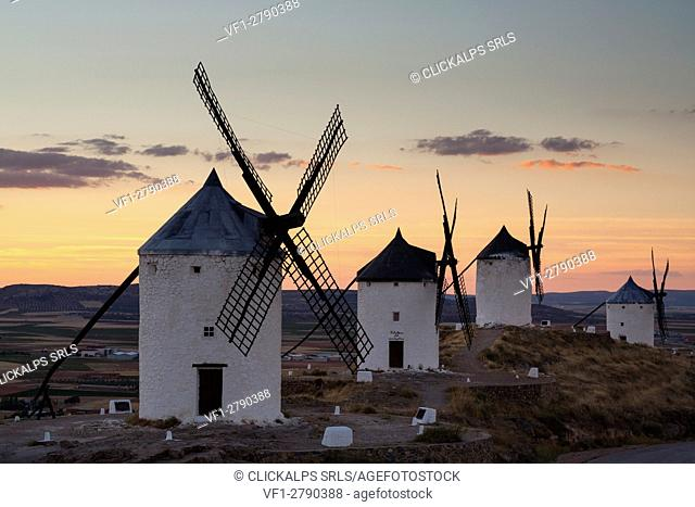 Consuegra, Castilla-La Mancha, Spain. A sunset on the windmills of Don Quixote