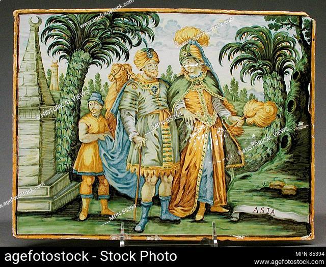 Asia (part of a set). Maker: Castelli; Designer: After a design by Charles Le Brun (French, Paris 1619-1690 Paris); Engraver: Engraved or published by Frederick...