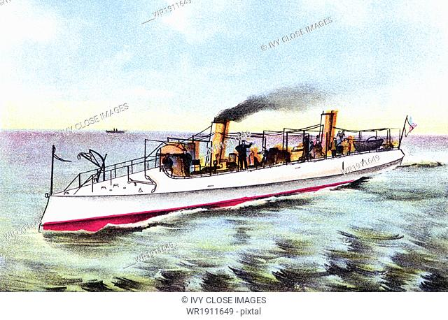 The USS Cushing (Torpedo Boat #1/TB-1), launched in 1890 by the Herreshoff Manufacturing Company of Bristol, Rhode Island