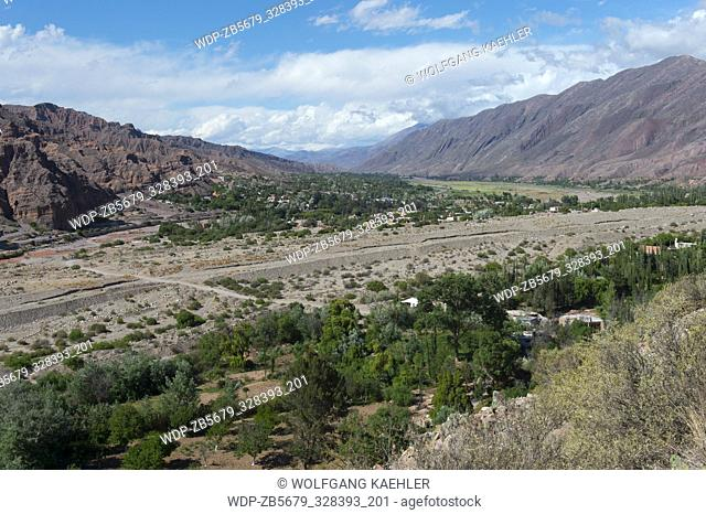 View of the valley of Quebrada de Humahuaca from the fortress of Tilcara (Pucara de Tilcara) located above todays city of Tilcara in the Andes Mountains