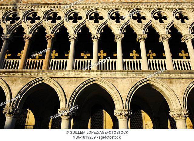 View of the doge's palace facade, Venice, Italy