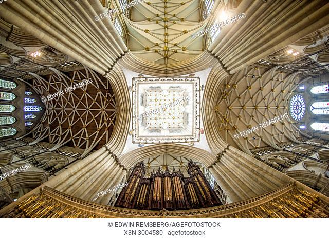 Detailed view of ceiling of York Minster Tower from directly below, York, Yorkshire, United Kingdom