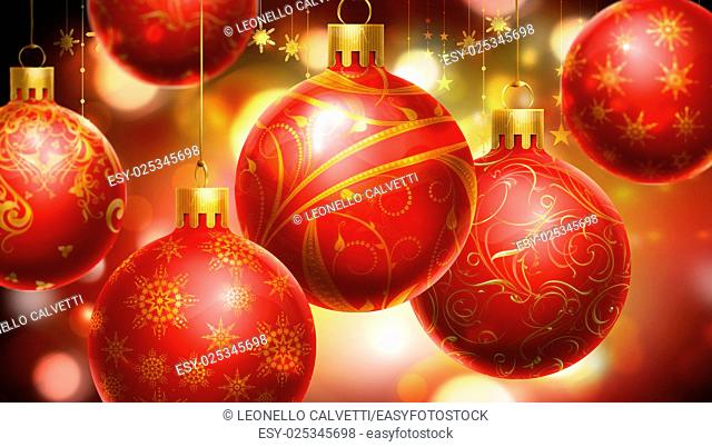 Christmass red/yellow abstract background with big decorated red balls in foreground