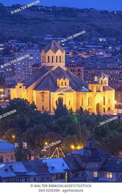 Armenia, Yerevan, Surp Grigor Lusavorich Cathedral, exterior, high angle view, dusk