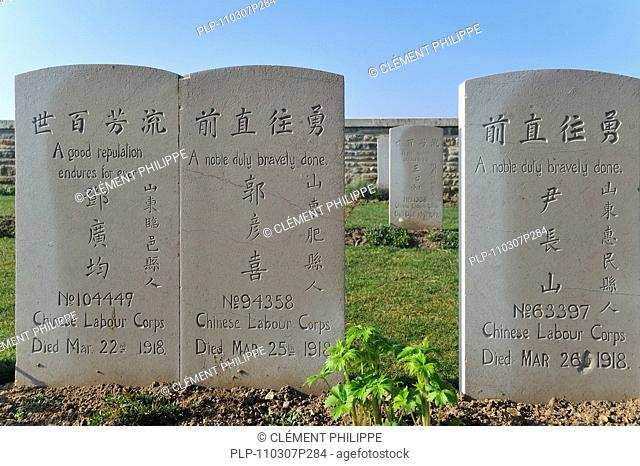 First World War cemetery of Chinese labourers at Noyelles-sur-Mer, Bay of the Somme, Picardy, France