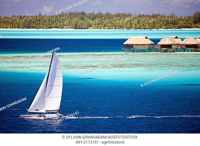 Matira coastline . Bora Bora island. French Polynesia