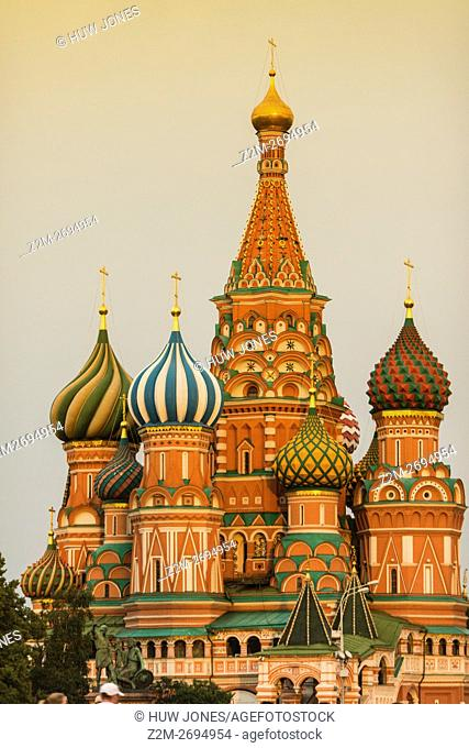 Dusk over Saint Basil's Cathedral, a former church now museum, Red Square, Moscow, Russia