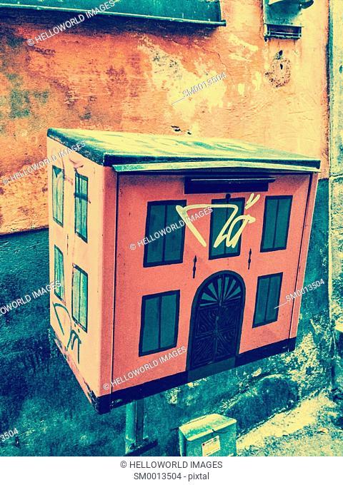 Post box in shape of house, Gamla Stan, Stockholm, Sweden, Scandinavia