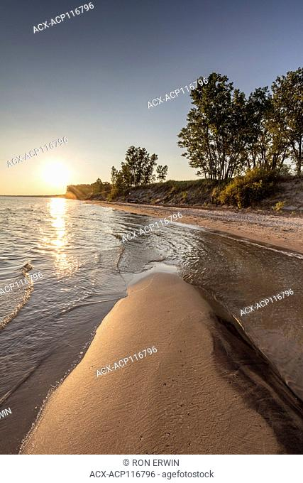 Sandy shores of Lake Erie in Long Point Provincial Park, Ontario, Canada - part of the Long Point Biosphere Reserve