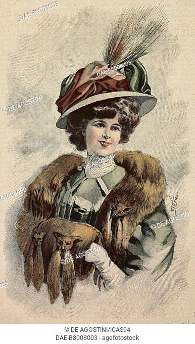Woman wearing a white silk felt hat with velvet and feather draping, stole and hand muff, creation by Carlier, colored engraving from La Mode Illustree, No 47