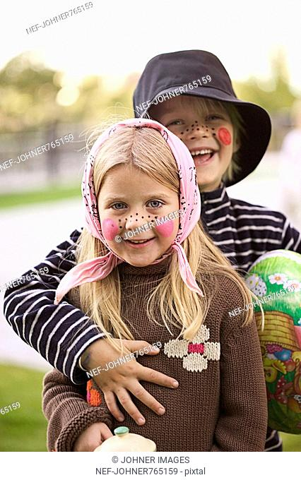 Children dressed up as an Easter witch, Sweden