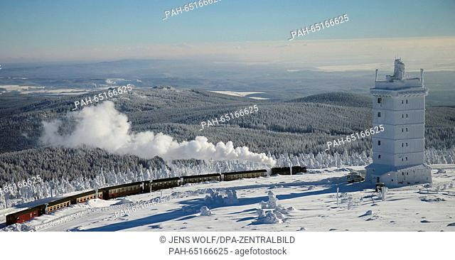 A steam train of the Harzer Schmalspurbahnen GmbH (HSB, lit. Harz narrow gague railway) travelling from the station on the Brocken mountain back to Wernigerode