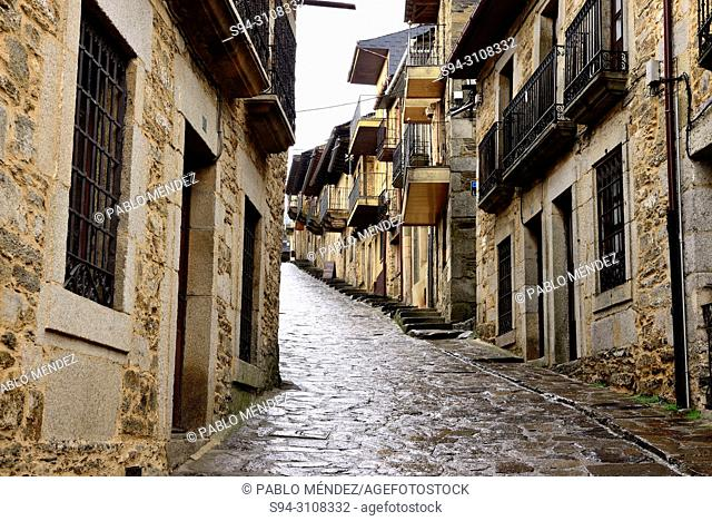 Pedestrian street in the old town of Puebla de Sanabria, Zamora, Spain