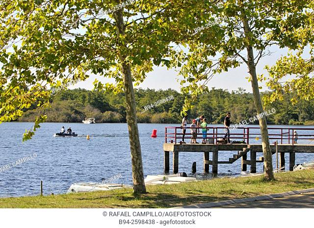 Fishing in Parentis Lake. Parentis-en-Born, Landes department, Aquitaine region, South Western France