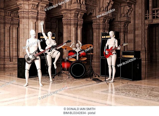 Robot women playing rock & roll music