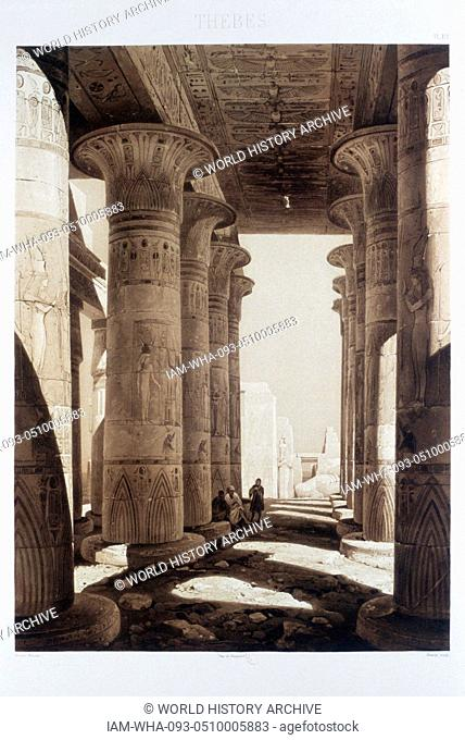 Hypostyle columns at Ramasseum, Egypt 1841. By French architect, Hector Horeau; 1801 - 1872. The Ramasseum is the memorial temple (or mortuary temple) of...
