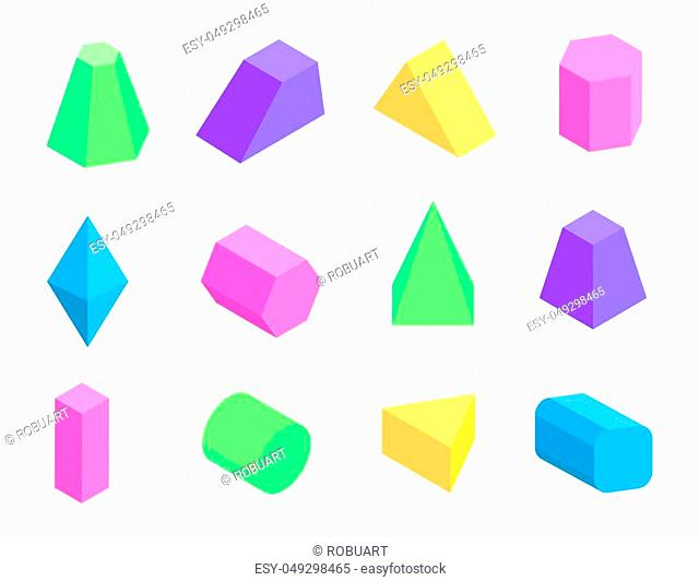 Different shape prism collection on white backdrop, tetrahedron octahedron cuboid cylinder pentagonal and square pyramids vector illustration