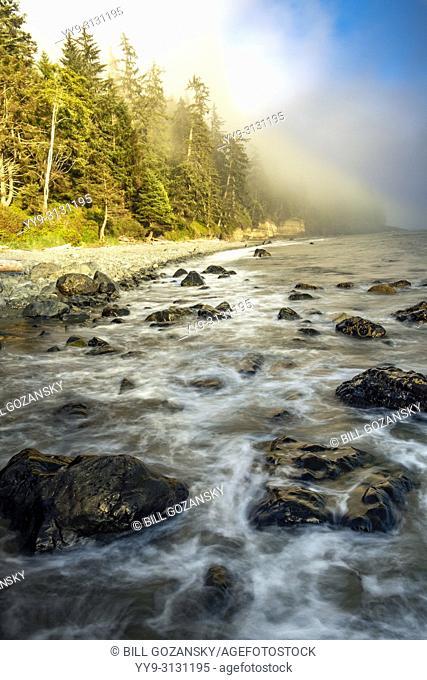 Rocky coastline of Mystic Beach - Juan De Fuca Marine Trail - Sooke, near Victoria, Vancouver Island, British Columbia, Canada