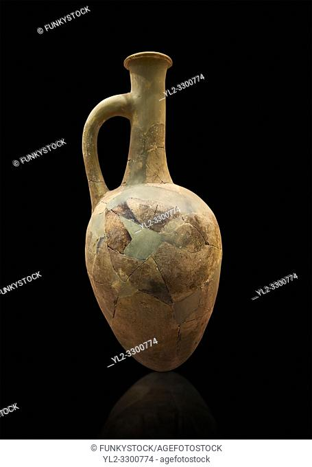 Hittite long neck pointed base terra cotta vessel. Hittite Old Period, 1650 - 1450 BC. Huseyindede. Çorum Archaeological Museum, Corum, Turkey