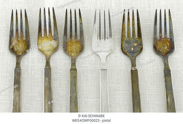 Tarnished silver Forks
