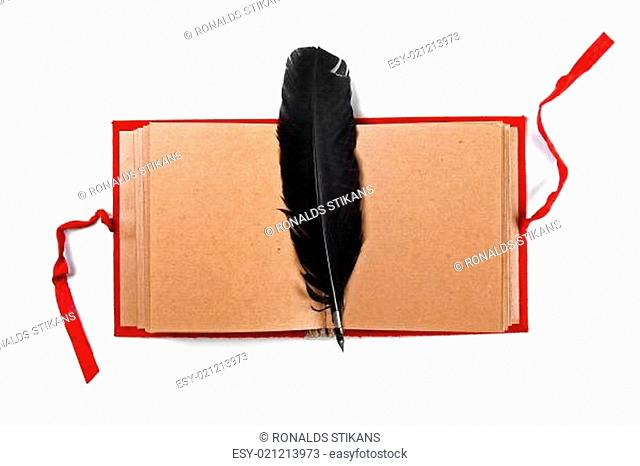 quill on old blank book isolated on white