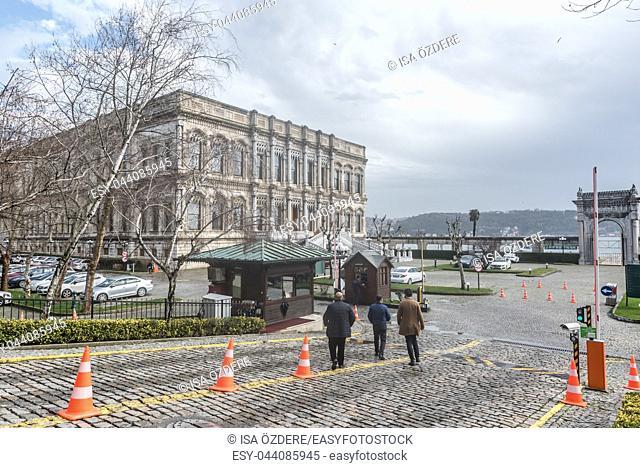 Exterior view of Ciragan Palace at Ciragan Street, a former Ottoman palace located in Besiktas, Istanbul, Turkey. 03 January 2018