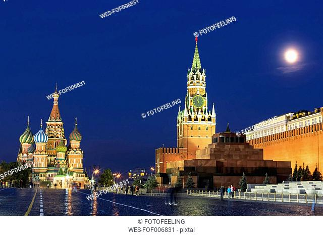 Russia, Central Russia, Moscow, Red Square, Saint Basil's Cathedral, Kremlin Wall, Kremlin Senate, Senate Tower, Spasskaya Tower and Lenin's Mausoleum at night