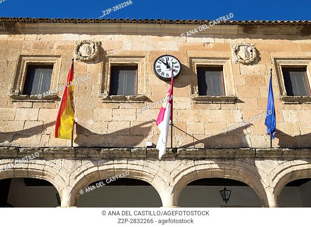 Alarcon village in Cuenca province Castile La Mancha Spain The medieval main square with the city hall